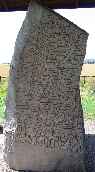 Rök Runestone - The front of the stone, the beginning of the inscription is read by tilting your head to the left