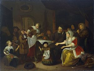 1685 in art - Image: R. Brakenburg Feast of St Nicholas 1685