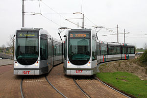Trams in Rotterdam - The two generations of Citadis trams; the older one is on the left and the newer on the right