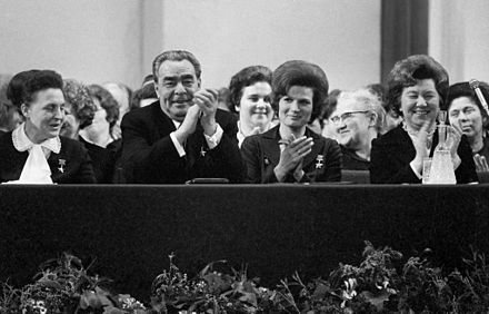 Brezhnev (seated second from left) attending celebrations for the holiday of International Women's Day, 1973 RIAN archive 734809 Members of Moscow's Soviets, Communist and civic organisations attend International Women's Day meeting.jpg