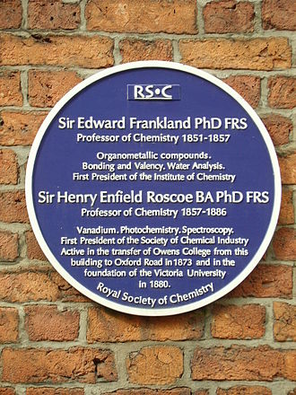 Henry Roscoe (chemist) - A blue plaque erected Quay Street, Manchester