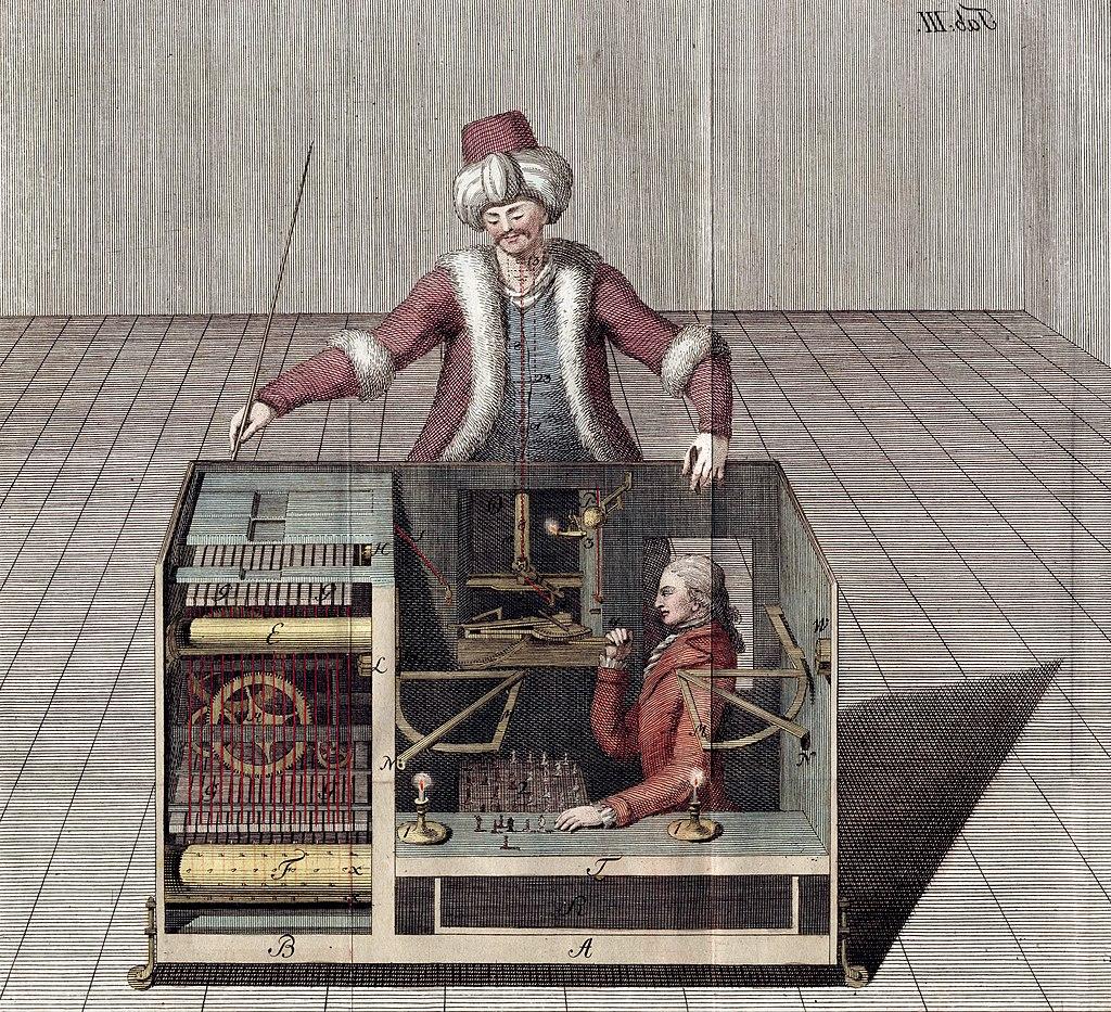 Il Turco giocatore di scacchi, illustrazione da Ueber den Schachspieler des Herrn von Kempelen, di Joseph Racknitz, 1789. Immagine di pubblico dominio via Wikimedia Commons