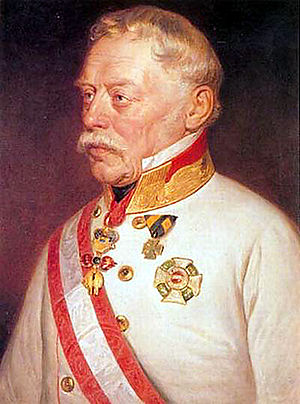 Grand Cross - Josef Graf Radetzky wearing the Grand Cross's star and the sash of the Military Order of Maria Theresa