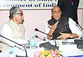 Rajnath Singh reviewing the security situation of the State with the state administration officials, at Agartala on February 14, 2015. The Chief Minister, Tripura Shri Manik Sarkar is also seen.jpg