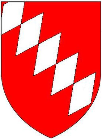 Walter Raleigh - Arms of Raleigh family: Gules, five fusils conjoined in bend argent