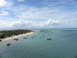 Aerial view of the جزیرہ پامبان from Pamban Bridge