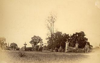 Shahbag - Elephants being ridden through Ramna Gate, Race Course, 1875