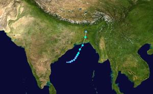 Cyclone Rashmi - Image: Rashmi 2008 track
