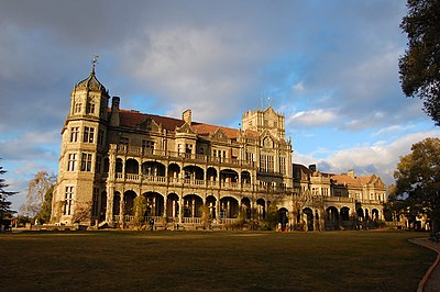 The Viceregal Lodge in Simla, built in 1888, was the summer residence of the Viceroy of India Rashtrapati Niwas, Shimla.jpg