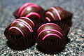 Raspberry chocolate truffle from Mary Ann's Chocolates Dessert, March 2011.jpg