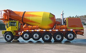 Concrete mixer - Terex Advance front discharge truck with three lift axles including one tag axle