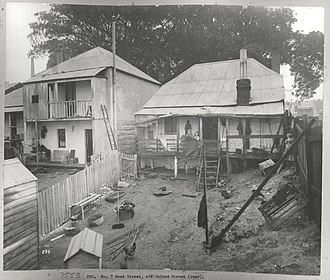 Paddington, New South Wales - Cottages in West Street, off Oxford Street, at the time of the Bubonic Plague in Sydney c.1900