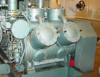 Compressor - A motor-driven six-cylinder reciprocating compressor that can operate with two, four or six cylinders.