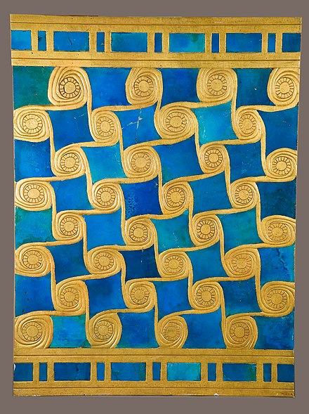 The faience (glazed ceramic earthenware) tile (above) is a reconstruction of wall decoration fragments found at the Temple of Malkata in stacks at the southwest corner. The gold spirals here were painted with gold paint, whereas the originals would have probably been covered by gold foil. Notably, similar patterns are found in the Pharaoh's Palace. Reconstruction of Wall Decoration from the Temple of Amun at Malqata MET 17.10.1a.jpg