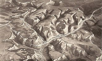 Reichsautobahn - Layout of the Drackensteiner Hang project: to negotiate the steep terrain with minimum disturbance, the two directions were routed on different sides of the mountain