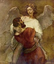Jacob struggles with the angel, by Rembrandt (Gemäldegalerie, Berlin).