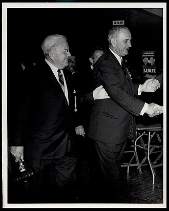 Reuben G. Soderstrom - Reuben Soderstrom leads President Johnson to the stage at the 1964 Illinois AFL-CIO Convention