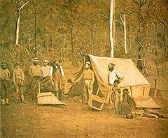 Asentamiento de buscadores de oro durante las fiebres del oro australianas.