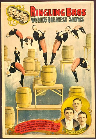 """Ringling Brothers Circus - Poster promoting the """"Raschetta Brothers"""" acrobats"""