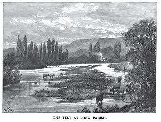 River Test - Pen and ink drawing of the River Test near Long Parrish circa 1891