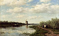 Roelofs Willem Figures On A Country Road Along A Waterway A Windmill In The Distance.jpg