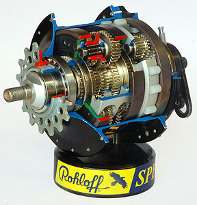 Internal picture of a Rohloff Speedhub 500/14 bicycle hub