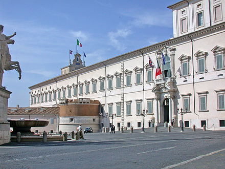 The Quirinal Palace, papal residence and home to the civil offices of the Papal States from the Renaissance until their annexation RomaPalazzoQuirinale.JPG