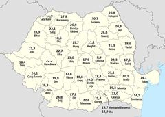 Romania marriage referendum, turnout by county.png