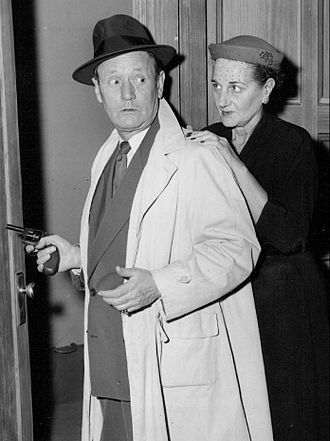 Roscoe Karns - Karns with his wife Mary; still from Rocky King, Inside Detective (1954)