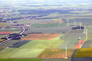 Aubigny, Calvados - The N158 in Aubigny. The windfarm is also in Aubigny