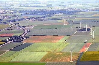 Aubigny, Calvados - The N158 in Aubigny. The windfarm is also in Aubigny