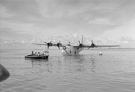 An RAF Short Sunderland moored in the lagoon at Addu Atoll, during WWII Royal Air Force Operations in the Far East, 1941-1945 CF620.jpg