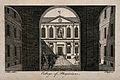 Royal College of Physicians; the courtyard, viewed through t Wellcome V0013119.jpg