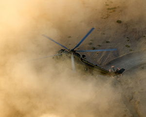 Brownout (aeronautics) - British Sea King of 845 NAS on exercise in the Jordanian desert in 2013