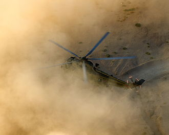 Foreign relations of Jordan - British Sea King of 845 NAS in the Jordanian desert during Exercise Pashtun Commando 2013