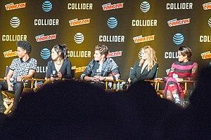 Runaways (TV series) - Cast of Runaways at the 2017 New York Comic Con (L-R:  Rhenzy Feliz, Lyrica Okano, Gregg Sulkin, Virginia Gardner and Ariela Barer)