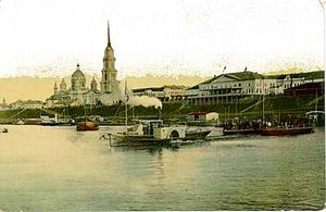 Rybinsk - City center and cathedral in the 19th century