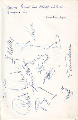 SK Rapid Wien 1960 - Unterschriften der Spieler