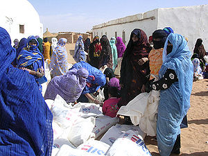 "Sahrawi refugee camps - ""USAID-supplied bread flour being distributed to mothers and children in Dakhla refugee camp. (January 18–25, 2004)"