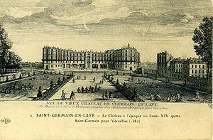 gravure montrant les extensions effectuées par Louis XIV. Les pavillons rajoutés sont très visibles sur la façade sur les parterres