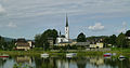 Saint Bartholomew church in Frymburk Pond Moldau 80080.jpg
