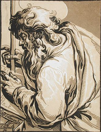 Ludolph Büsinck - St Matthew, chiaroscuro wood engraving after Georges Lallemand