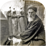 Samaritan High Priest and Old Pentateuch, 1905.png