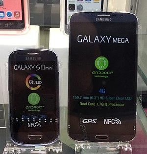 Samsung Galaxy Mega - Samsung Galaxy Mega (right) beside Samsung Galaxy S3 Mini