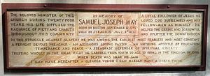 Samuel Joseph May - Stone plaque memorializing Rev. Samuel Joseph May, at the May Memorial Unitarian Universalist Society, Syracuse, NY
