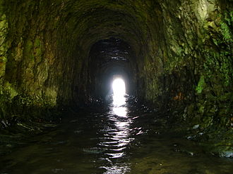 San Vicente Creek (Santa Cruz County) - Tunnel channelling San Vicente Creek beneath coast highway and railway