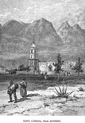 Santa Catarina, Nuevo León - Church of Santa Catarina, Nuevo León, Mexico circa 1890.