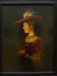 Rembrandt: Saskia van Uylenburgh im Profil, in reichem Kostüm
