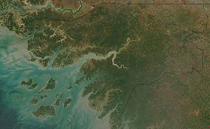 Outline of Guinea-Bissau - An enlargeable satellite image of Guinea-Bissau