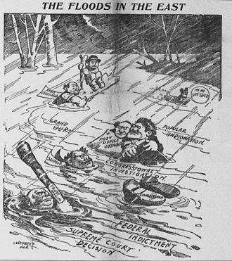 Political scandal - In the spring of 1904, many parts of the northeastern United States experienced severe flooding. Bob Satterfield portrayed politicians, bureaucrats, etc., trapped in the floods – which are not of water, but of scandal (April 9, 1904)